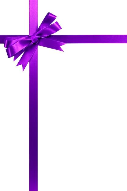 Cadre De Bordure Pour Le Coin Vertical Arc Cadeau Violet Cadeau Isolé Sur Blanc. Photo Premium