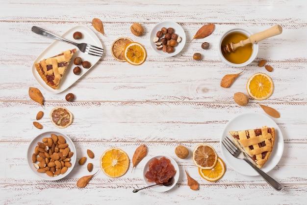 Cadre Circulaire Alimentaire Vue De Dessus Avec Espace Copie Photo gratuit