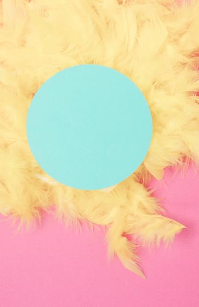 Cadre circulaire bleu sur les plumes jaunes sur fond rose Photo gratuit