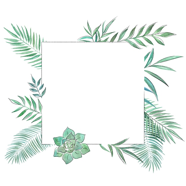 Cadre décoratif botanique dessiné à la main Photo Premium