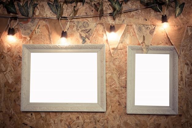 Cadre décoratif sur fond en bois Photo Premium