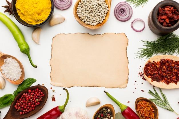 Cadre De La Diversité Des Condiments Photo Premium