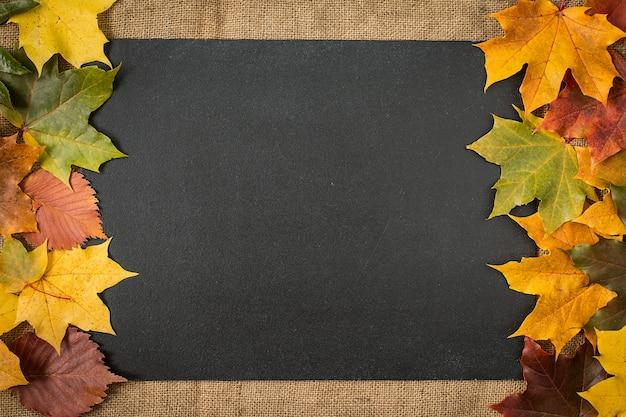 Cadre de feuilles d'automne sur la surface du tableau Photo Premium