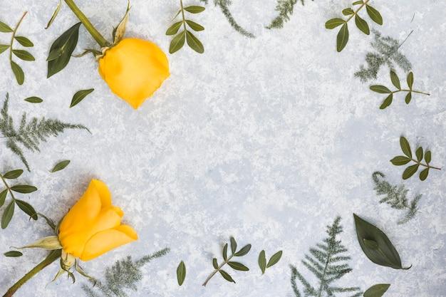 Cadre de fleurs roses et de branches de plantes Photo gratuit