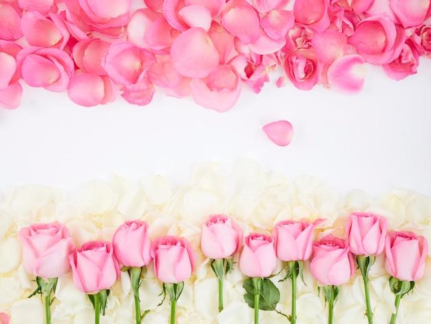 Cadre De Fleurs En Roses Roses Photo Premium