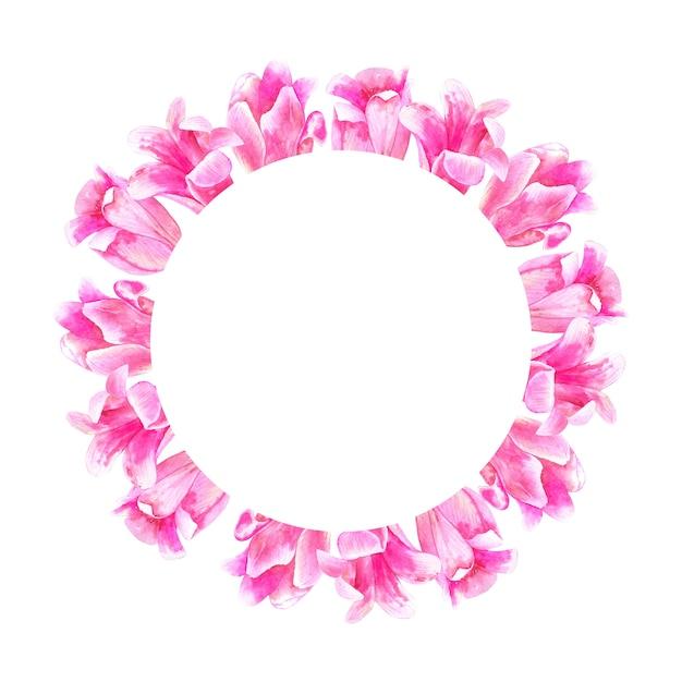 Cadre Floral Rond. Tulipes Roses. Illustration Aquarelle Dessinée à La Main. Isolé. Photo Premium