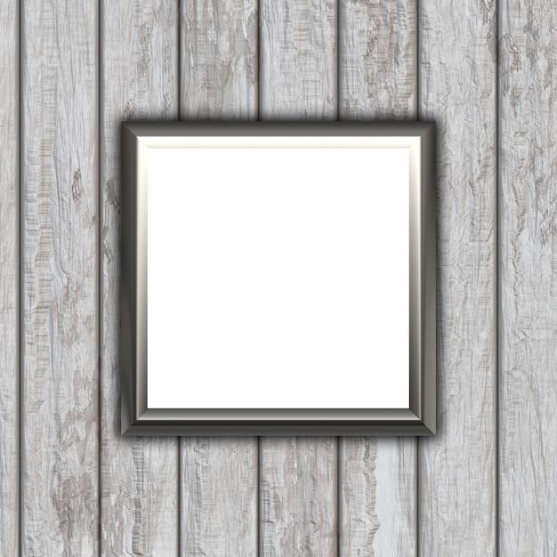 Cadre d'image vide 3d sur un fond de texture en bois Photo gratuit