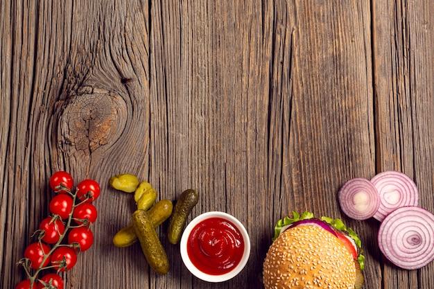 Cadre d'ingrédients pour burger à plat Photo gratuit