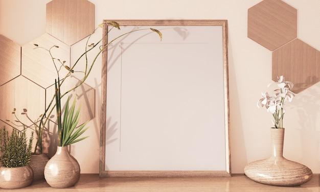 Cadre de maquette maquette, tuiles hexagon en bois et décoration de vase en bois sur plancher en bois ton rendu 3d Photo Premium
