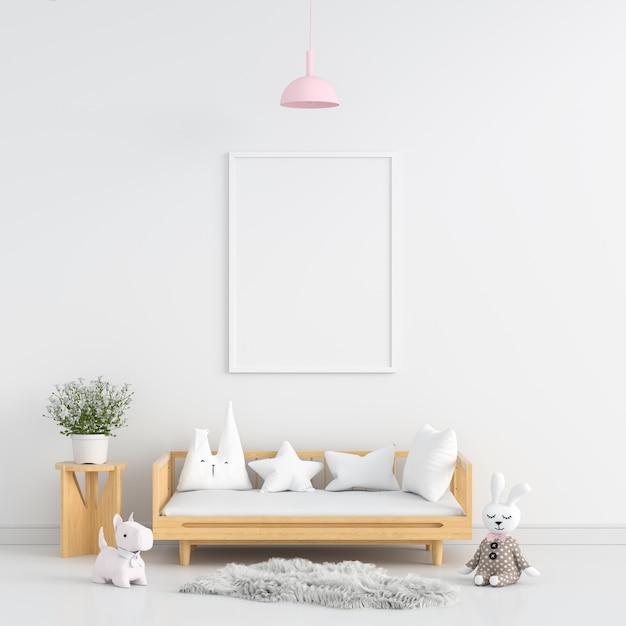 Cadre photo blanc dans la chambre d'enfant blanc Photo Premium