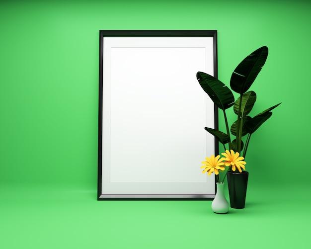 Cadre photo blanc sur fond vert avec plante maquette. rendu 3d Photo Premium