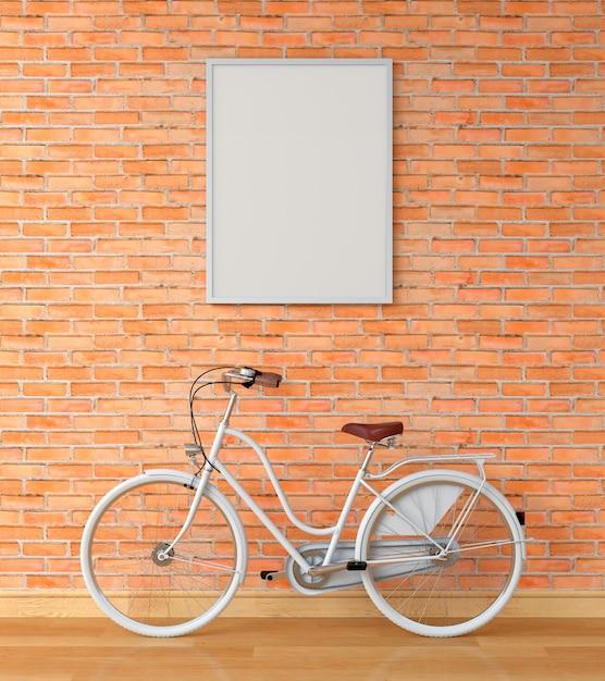 Cadre photo blanc pour maquette sur mur et vélo blanc, rendu 3d Photo Premium