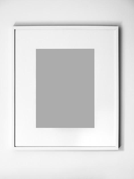 Cadre Photo Blanc Vierge Sur Mur Blanc Photo Premium