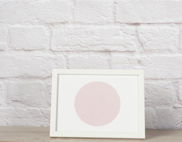 Cadre Photo En Bois Blanc Vide, Mur De Briques Blanches Photo Premium