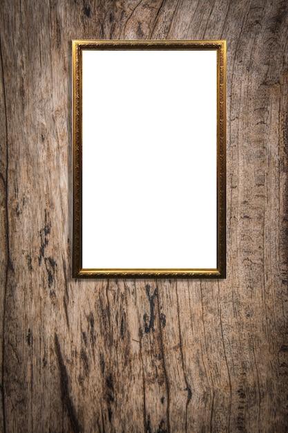 Cadre photo en bois sur fond de bois vieux Photo Premium