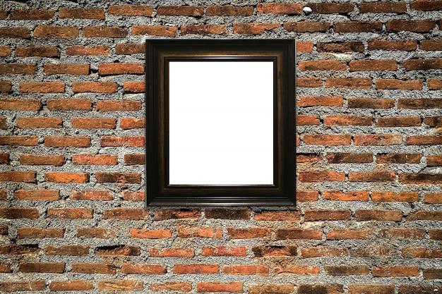 Cadre photo en bois sur fond de mur ancien Photo Premium