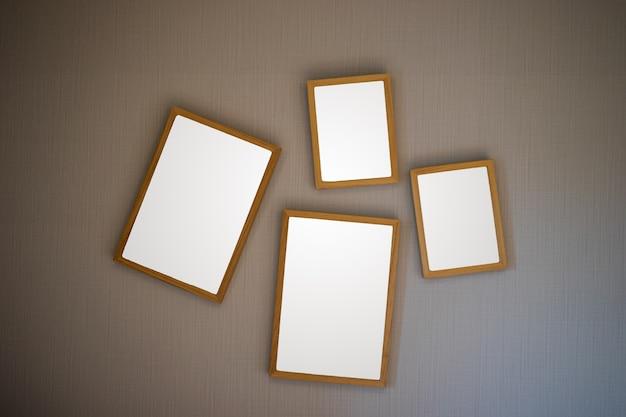 Cadre photo en bois marron blanc sur fond antique. Photo Premium