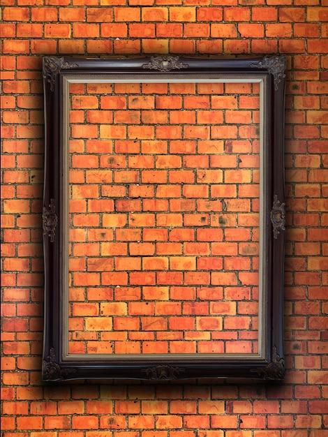 Cadre photo sur mur de briques rouges Photo Premium