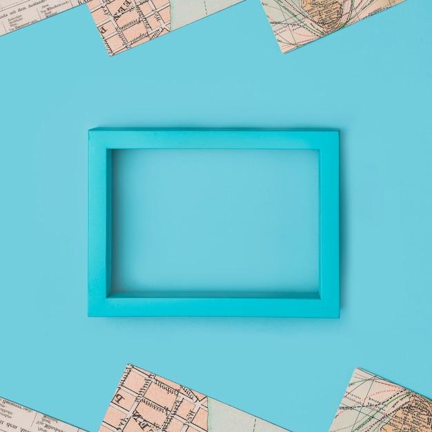 Cadre photo turquoise vide Photo gratuit