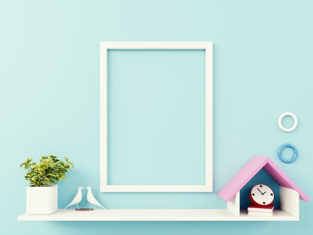 Cadre photo vide sur le mur bleu Photo Premium