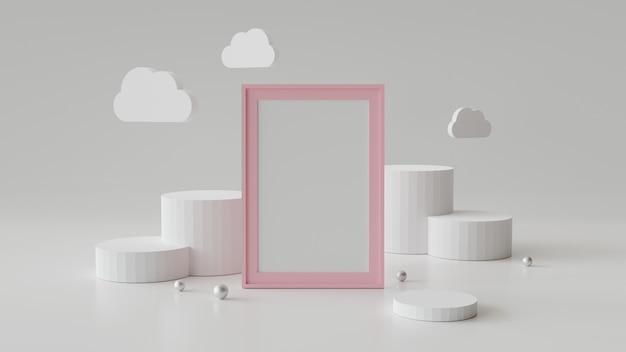Cadre photo vide avec podium cylindre. abstrait géométrique pour l'affichage ou la maquette. rendu 3d. Photo Premium