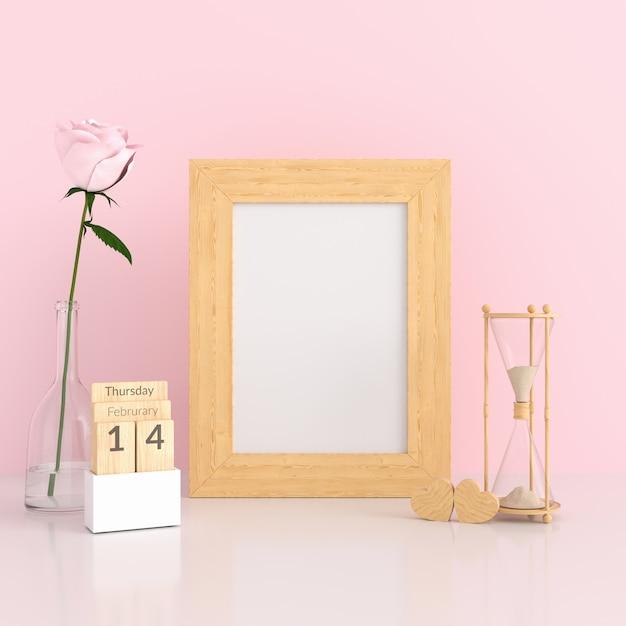 Cadre photo vierge dans une pièce rose pour maquette Photo Premium