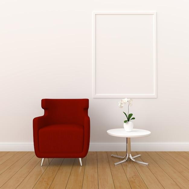 Cadre photo vierge pour maquette dans le salon moderne, rendu 3d, illustration 3d Photo Premium