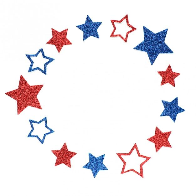 Cadre rond d'étoiles scintillantes aux couleurs du drapeau américain. Photo Premium