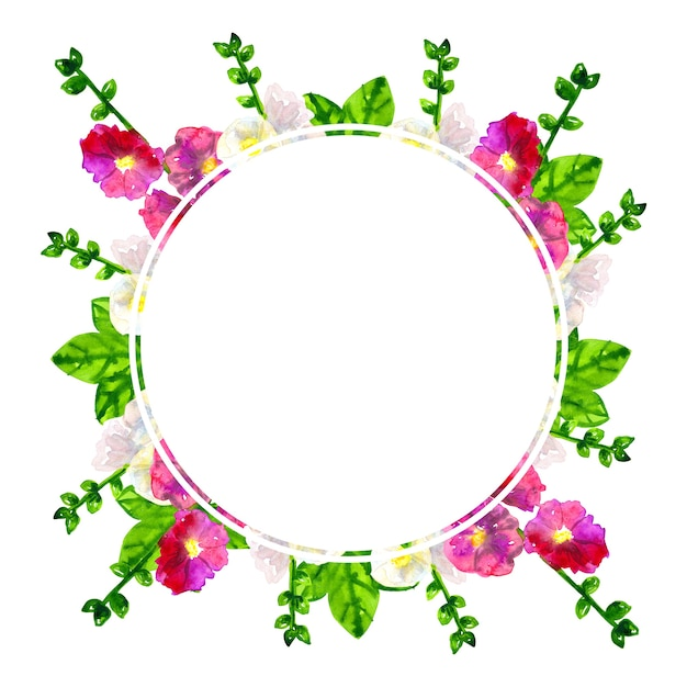 Cadre Rond. Mauve Rose Pourpre Avec Des Feuilles. Mauve Blanche. Illustration Aquarelle Dessinée à La Main. Isolé. Photo Premium