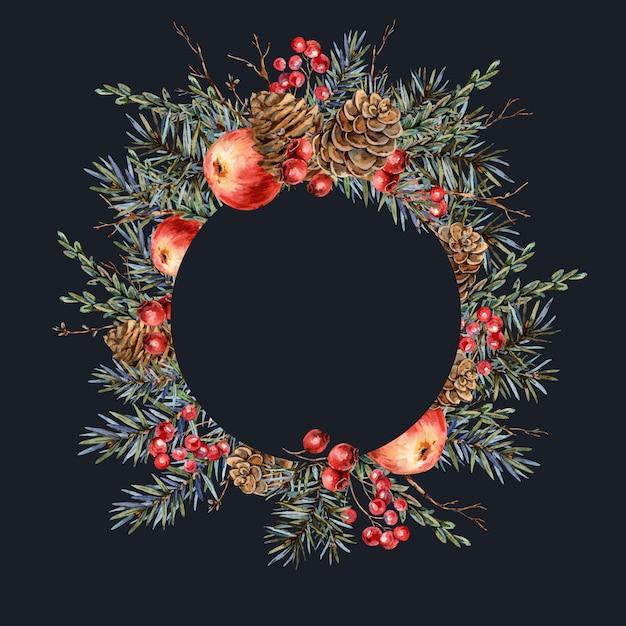Cadre Rond Naturel Aquarelle De Noël De Branches De Sapin, Pomme Rouge, Baies, Pommes De Pin, Illustration Botanique Vintage Photo Premium