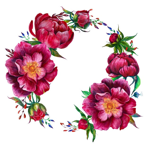 Cadre rond avec pivoines aquarelles et fleurs graphiques Photo Premium