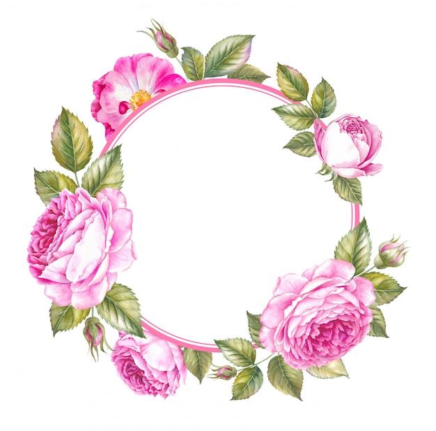 Cadre roses de printemps rose pour mariage Photo Premium