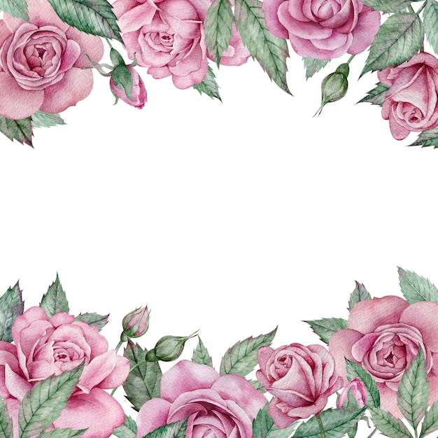 Cadre De Roses Roses. Cadre De Mariage Floral Carré Dessiné à La Main Aquarelle. Cadre De La Saint-valentin Photo Premium