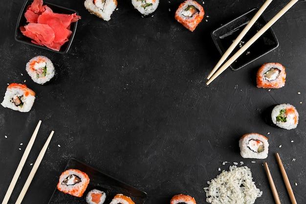 Cadre De Rouleaux De Sushi Photo Premium