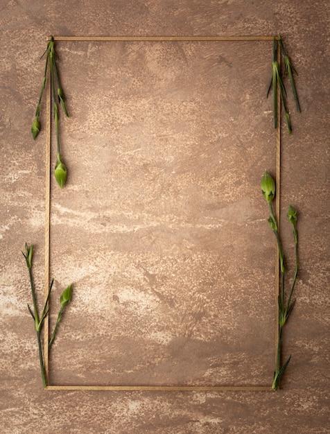 Cadre sépia avec petites tiges d'oeillets Photo gratuit