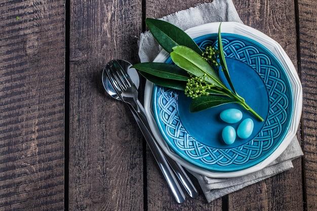 Cadre de table de pâques Photo Premium