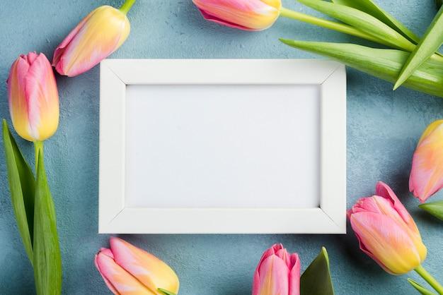 Cadre De Tulipes Avec Cadre Blanc Photo gratuit