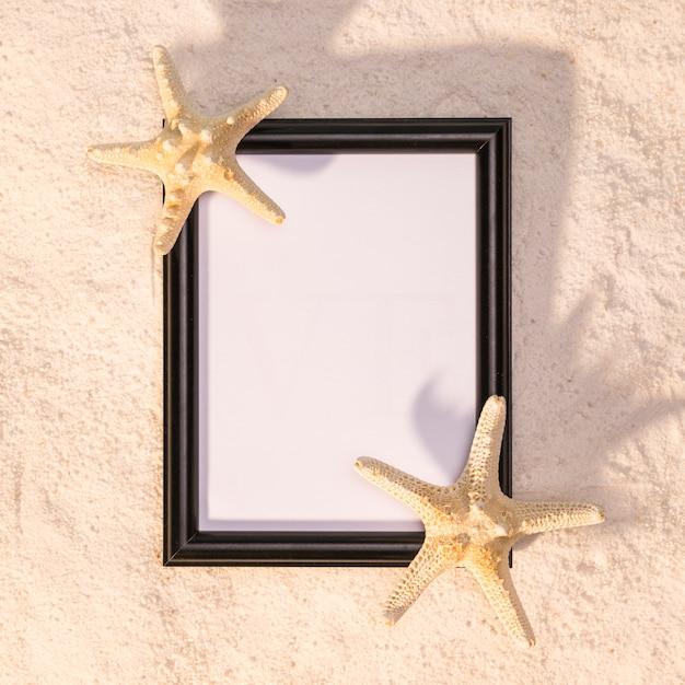 Cadre Vertical Noir Avec Des étoiles De Mer Photo gratuit