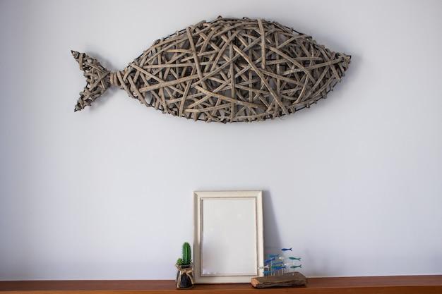 Cadre vide avec décoration cactus Photo Premium