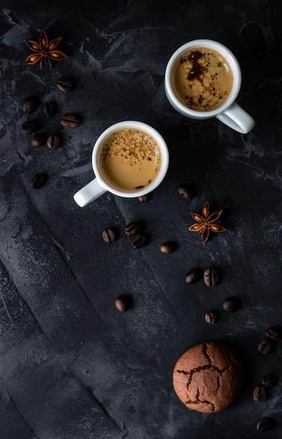 Café et bonjour concept Photo Premium