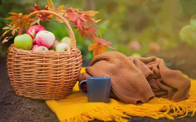 Café chaud et panier avec des pommes sur une couverture jaune Photo Premium