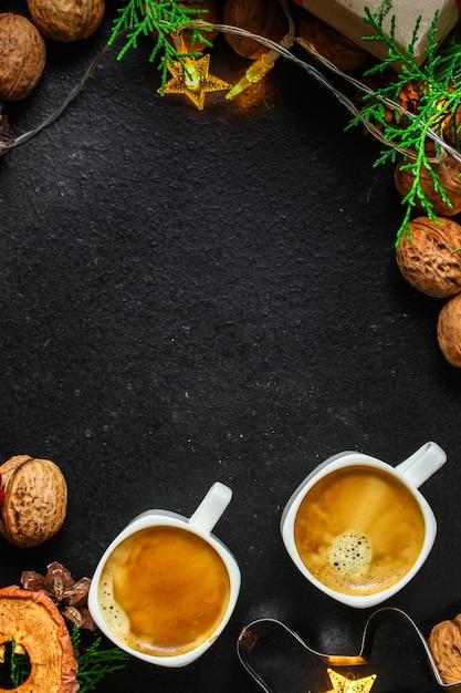 Café, nouvel an, fond de noël ou fête de noël Photo Premium