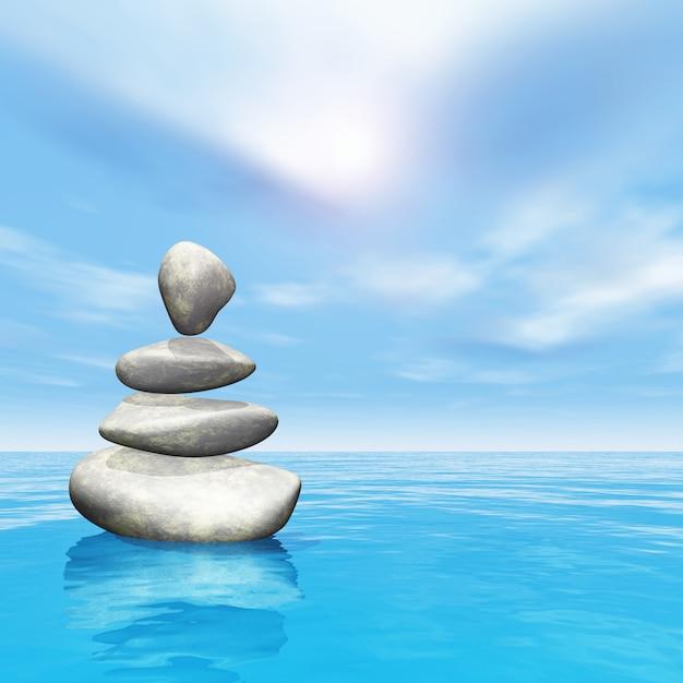 Cailloux 3d en équilibre dans l'océan Photo gratuit