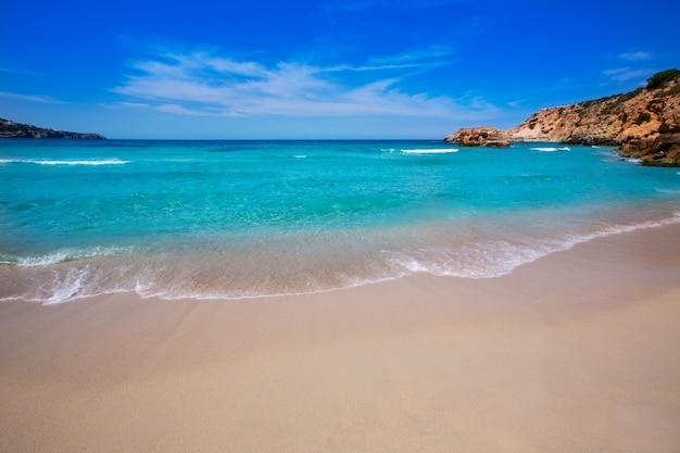 Cala tarida à la plage d'ibiza aux îles baléares Photo Premium