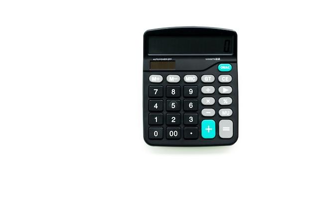 Calculatrice noire sur les fonds blancs Photo Premium