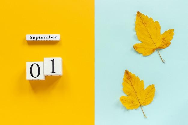 Calendrier 1er septembre et feuilles d'automne jaunes sur bleu jaune Photo Premium