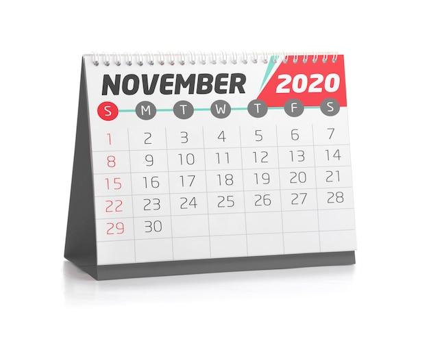 Calendrier de bureau novembre 2020 Photo Premium