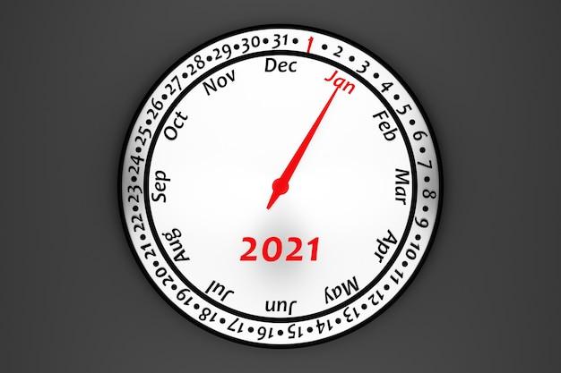 Calendrier De L'horloge Ronde Blanche Illustration 3d Avec 12 Mois, 31 Jours Et 2021 Année Sur Fond Noir. Photo Premium