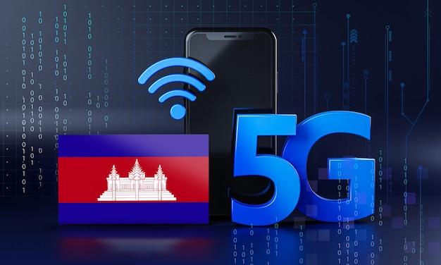 Cambodge Prêt Pour Le Concept De Connexion 5g. Fond De Technologie Smartphone De Rendu 3d Photo Premium
