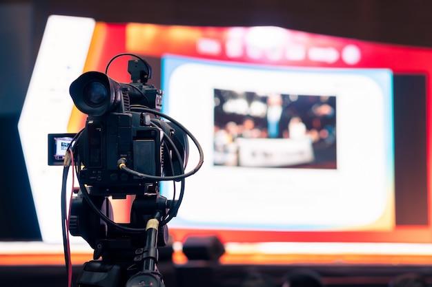 Caméscope, enregistrement, émission en direct, émission numérique, de, séminaire industrie Photo Premium